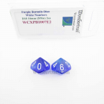 WCXPB1007E2 Purple Borealis Dice with White Numbers D10 Aprox 16mm (5/8in) Pack of 2 Wondertrail