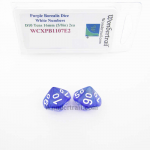 WCXPB1107E2 Purple Borealis Dice with White Numbers D10 Tens Aprox 16mm (5/8in) Pack of 2 Wondertrail