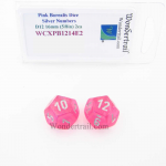 WCXPB1214E2 Pink Borealis Dice with Silver Numbers D12 Aprox 16mm (5/8in) Pack of 2 Wondertrail