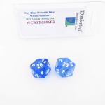WCXPB2006E2 Sky Blue Borealis Dice White Numbers D20 16mm Pack of 2