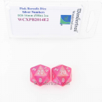 WCXPB2014E2 Pink Borealis Dice Silver Numbers D20 16mm Pack of 2
