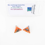 WCXPG0452E2 Blue and Orange Gemini Dice with White Numbers D4 Aprox 16mm (5/8in) Pack of 2 Wondertrail