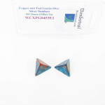 WCXPG0453E2 Copper and Teal Gemini Dice with Silver Numbers D4 Aprox 16mm (5/8in) Pack of 2 Wondertrail