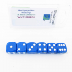 WKP10880E6 Blue Opaque Dice White Pips D6 16mm Rounded Pack of 6