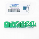 WKP10881E6 Green Opaque Dice White Pips D6 16mm Rounded Pack of 6