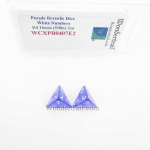 WCXPB0407E2 Purple Borealis Dice with White Numbers D4 Aprox 16mm (5/8in) Pack of 2 Wondertrail