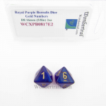 WCXPB0817E2 Royal Purple Borealis Dice with Gold Numbers D8 Aprox 16mm (5/8in) Pack of 2 Wondertrail