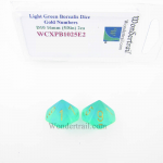 WCXPB1025E2 Light Green Borealis Dice with Gold Numbers D10 Aprox 16mm (5/8in) Pack of 2 Wondertrail