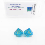 WCXPB1115E2 Teal Borealis Dice with Gold Numbers D10 Tens Aprox 16mm (5/8in) Pack of 2 Wondertrail