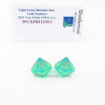 WCXPB1125E2 Light Green Borealis Dice with Gold Numbers D10 Tens Aprox 16mm (5/8in) Pack of 2 Wondertrail