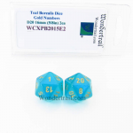 WCXPB2015E2 Teal Borealis Dice Gold Numbers D20 16mm Pack of 2