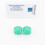 WCXPB2025E2 Light Green Borealis Dice with Gold Numbers D20 Aprox 16mm (5/8in) Pack of 2