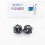 WCXPB2028E2 Smoke Borealis Dice Silver Numbers D20 16mm Pack of 2