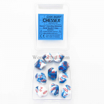 CHX26257 Astral Blue White Gemini Dice Red Numbers D10 16mm Pack of 10