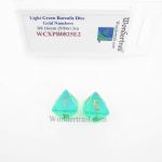 WCXPB0825E2 Light Green Borealis Dice with Gold Numbers D8 Aprox 16mm (5/8in) Pack of 2 Wondertrail
