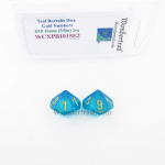 WCXPB1015E2 Teal Borealis Dice with Gold Numbers D10 Aprox 16mm (5/8in) Pack of 2 Wondertrail