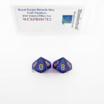WCXPB1017E2 Royal Purple Borealis Dice with Gold Numbers D10 Aprox 16mm (5/8in) Pack of 2 Wondertrail