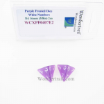 WCXPF0407E2 Purple Frosted Dice with White Numbers D4 Aprox 16mm (5/8in) Pack of 2 Wondertrail