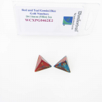 WCXPG0462E2 Red and Teal Gemini Dice with Gold Numbers D4 Aprox 16mm (5/8in) Pack of 2 Wondertrail