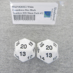 WKP18283E2 White Countdown Dice Black Numbers D20 30mm Pack of 2