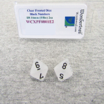 WCXPF0801E2 Clear Frosted Dice with Black Numbers D8 Aprox 16mm (5/8in) Pack of 2 Wondertrail