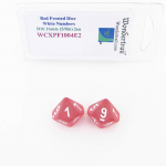 WCXPF1004E2 Red Frosted Dice White Numbers D10 16mm Pack of 2