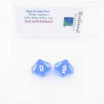 WCXPF1006E2 Blue Frosted Dice White Numbers D10 16mm Pack of 2