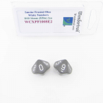 WCXPF1008E2 Smoke Frosted Dice White Numbers D10 16mm Pack of 2