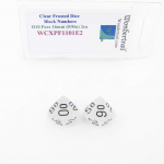 WCXPF1101E2 Clear Frosted Dice with Black Numbers D10 Perc Aprox 16mm (5/8in) Pack of 2 Wondertrail