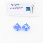 WCXPF1106E2 Blue Frosted Dice with White Numbers D10 Perc Aprox 16mm (5/8in) Pack of 2 Wondertrail