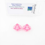 WCXPF1114E2 Pink Frosted Dice with White Numbers D10 Perc Aprox 16mm (5/8in) Pack of 2 Wondertrail