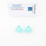 WCXPF1125E2 Teal Frosted Dice with White Numbers D10 Perc Aprox 16mm (5/8in) Pack of 2 Wondertrail