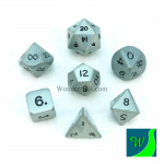 CYC02606 Antique Silver Hue Dwarven Metal Dice 16mm 7 Piece Set Crystal Caste