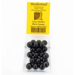 WONGM105 Black Opaque 16mm Glass Marbles Pack of 20