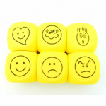 KOP18684 Foam Expression Dice D6 Yellow And Black 40mm Pack Of Six Koplow Games