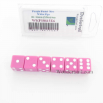 WKP18615E6 Purple Pastel Dice D6 with White Pips 16mm (5/8in) Pack of 6