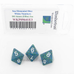 WKP09641E3 Sea Elemental Dice with White Numbers D8 16mm (5/8in) Pack of 3