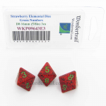 WKP09643E3 Strawberry Elemental Dice with Green Numbers D8 16mm (5/8in) Pack of 3