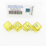 WKP10303E4 Yellow Doubling Cube Dice White Pips D6 19mm Pack of 4