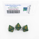 WKP13079E3 Golden Recon Elemental Dice Gold Numbers 16mm D8 Pack of 3