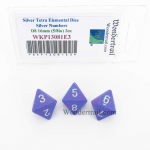WKP13081E3 Silver Tetra Elemental Dice Silver Numbers 16mm D8 Pack of 3