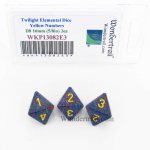 WKP13082E3 Twilight Elemental Dice Yellow Numbers 16mm D8 Pack of 3