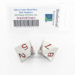 WKP18734E2 Metal Dice D8 Silver Red Pips 20mm (25/32in) Pack of 2
