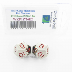 WKP18736E2 Metal Dice D12 Silver Red Pips 20mm Pack of 2