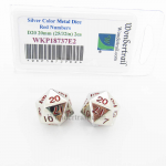 WKP18737E2 Metal Dice D20 Silver Red Pips 20mm Pack of 2