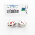 WKP18738E2 Metal Dice DT10 Silver Red Pips 20mm Pack of 2