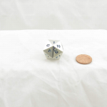WKP18740E1 Metal Dice D20 Countdown Dice Silver Blue Numbers 22mm Pack of 1
