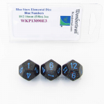 WKP13090E3 Blue Stars Elemental Dice Blue Numbers 16mm D12 Pack of 3
