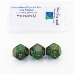 WKP13091E3 Golden Recon Elemental Dice Gold Numbers 16mm D12 Pack of 3