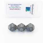 WKP13092E3 Hi Tech Elemental Dice Silver Numbers 16mm D12 Pack of 3